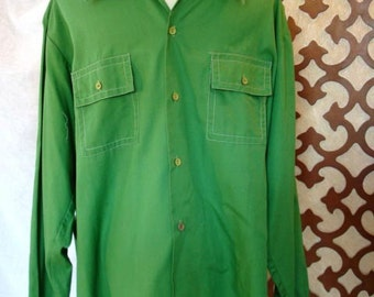 Mens Shirt Vintage American Prep Style in Green Sz L DARWIN