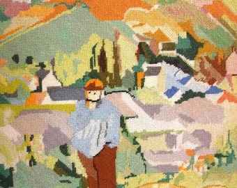 80s Needlepoint Vintage Post Impressionist Inspired Petit Point Textile Art