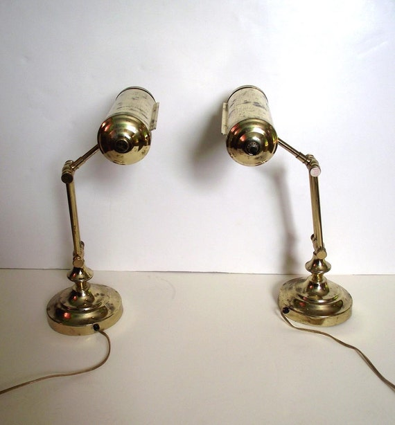 Brass Lamps Piano Lamps Vintage 80s Shabby Desk Lamps Set of 2 Gold Tone