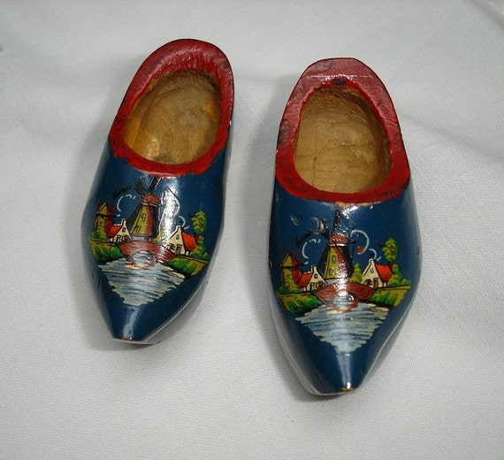 Vintage Wooden Dutch Clogs with Windmill and Village on front - handmade
