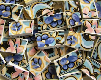 Mosaic Tiles - 95 Mosaic Plate Tiles, Blue and Pink FLORAL CHINTZ Scrollwork - FREE Shipping - ALLBellaJewels