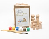 Toy Kids Arts and Crafts DIY Wooden Peg Doll Kit in a Bag with Packaging - kids birthday gift