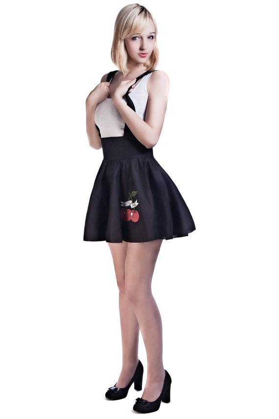 black suspender skirt high waisted skirt rockabilly by