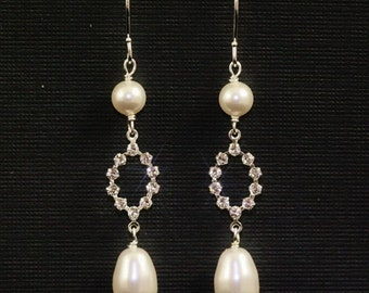 Ivory Pearl Earrings Crystal Rhinestone Wedding Bridal Jewelry Delicate Long Dangle -- CLAIRE
