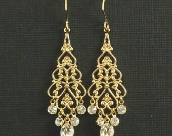 Gold Rhinestone Chandelier Earrings -- Wedding Earrings, Gold Filigree, Swarovski Crystal Rhinestone Chandelier Earrings --  EMMA