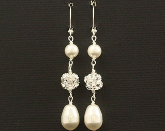 Rhinestone Pearl Wedding Earrings -- Vintage Bridal Earrings, Pearl Wedding Jewelry, Long Earrings, Drops, Rhinestone Earrings -- PORTIA