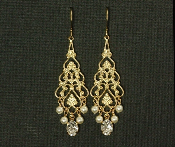 Gold Chandelier Bridal Earrings Pearl Chandelier Earrings – Pearl Chandelier Bridal Earrings