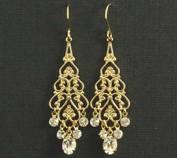 Gold Rhinestone Chandelier Earrings -- Wedding Earrings, Gold Filigree, Swarovski Crystal Rhinestone Chandelier Earrings --  EMMA