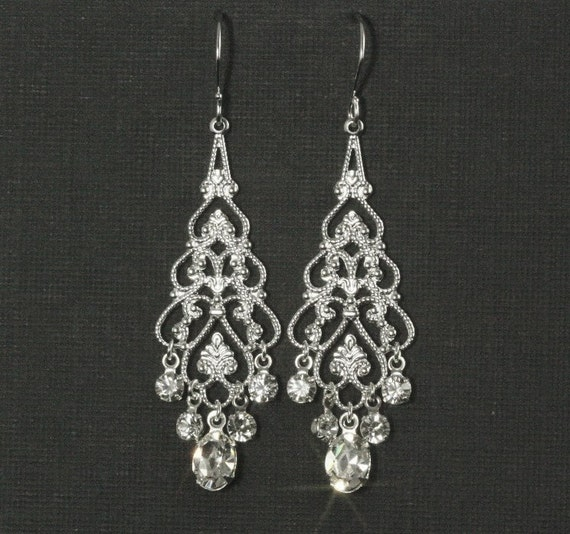 Rhinestone Chandelier Earrings -- Chandelier Bridal Earrings, Wedding Jewelry, Wedding Earrings, Silver Filigree, Rhinestones -- EMMA