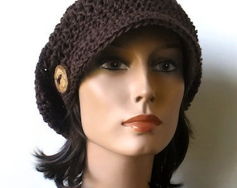 Hemp Slouchy Woodland Newsboy Chocolate Brown Eco Friendly Organic Hippie Bohemian Hat Cap Made to Order