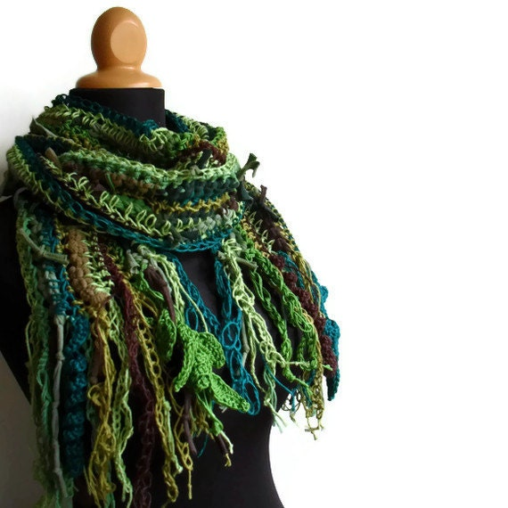 Mossy Forest Dweller Vegan Gypsy Scarf in Hemp, Cotton and Hemp Soy Blend Woodland Fantasy Autumn Fall Winter Fashion Made To Order