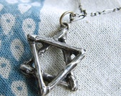 Star of David Pendant. Oxidized Twig Star of David. Sterling Silver Star of David Necklace. Handmade Judaica. Hanukkah Gifts