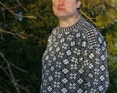 SALE 10% and FREE SHIPPING  Black and white Estonian fishermans  sweater