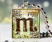 Whimsy letter M - Scrabble Pendant - Initial Necklace - Initial Jewelry - Initial Charm - Initial Pendant - Gift Under 10 - Birthday Gift