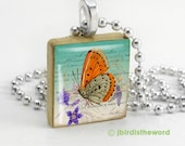 Orange Visitor scrabble tile pendant
