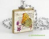 Pretty Butterfly scrabble tile pendant - Butterfly Pendant - Butterfly Necklace - Butterfly Jewelry - Gift for Butterfly Lover