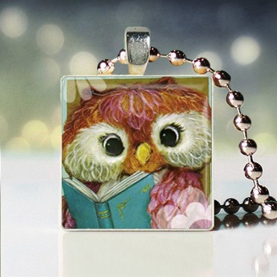 Give a Hoot read a Book scrabble tile pendant - Owl Pendant - Owl Necklace - Owl Jewelry - Owl Charm - Gift for Owl Lover - Gift Under 10