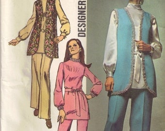 Tunic Top High Round Neckline, Pants, Vest Simplicity 9077 Vintage 1970s Sewing Pattern Size 12 14 Bust 34 36