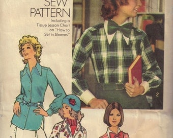 Tops with Pointed Collar and Bow Tie Shirt Blouse Vintage 1970s Sewing Pattern Misses Size 12 Bust 34 Simplicity 5148