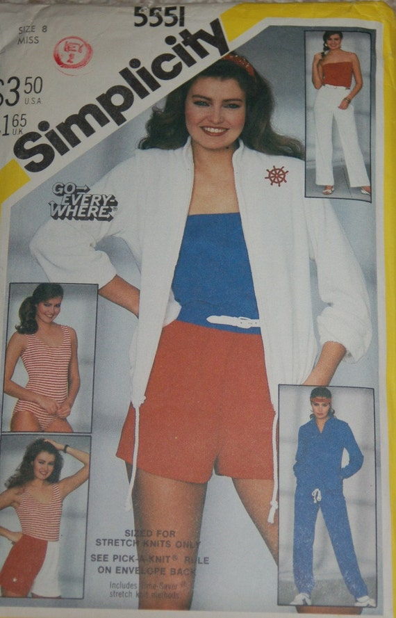 Workout Top, Short, Sweat Jacket, Pants, Tube top, and Bathing suit and Jacket Sewing Pattern Simplicity 5551  Size 8