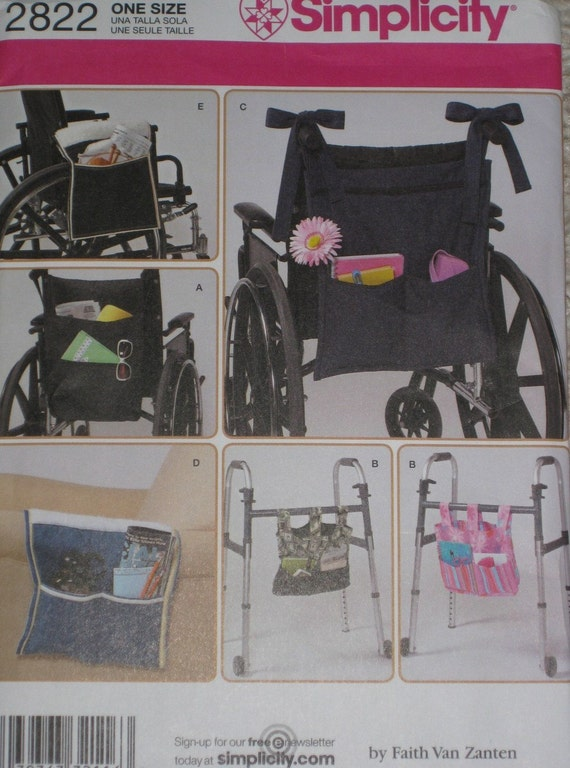 Simplicity 2822 Wheelchair Helper and Walker Organizer bag sewing pattern Wheel Chair Storage