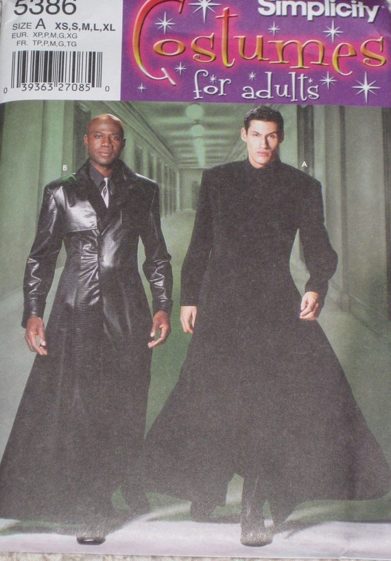 Simplicity 5386 Morpheus Gothic Duster Coat Costume Sewing Pattern Size xs, s, m, l, xl Chest 30 -  48