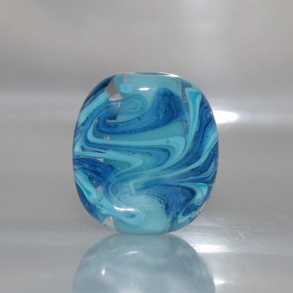 Swirling Blues Lampwork Glass Focal Bead