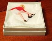 pin up girl handkerchief N - blonde bowling in heels - scarf - napkin