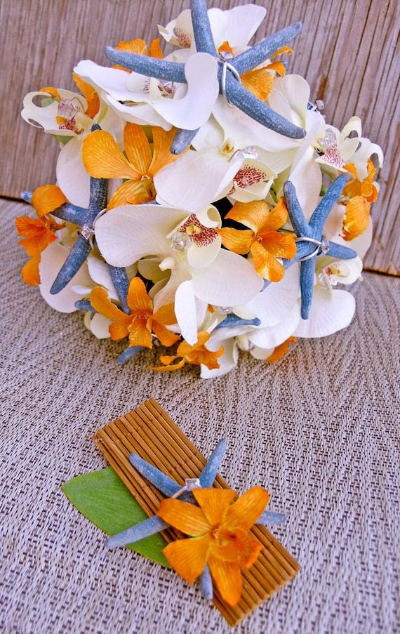 Orange Cream Bridal Bouquet Blue Starfish Tropical Wedding