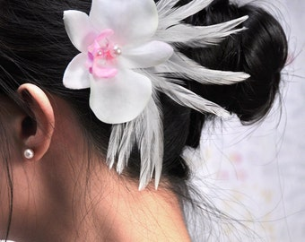 Wedding head piece orchid flower head piece bride flower hair clip bridal head piece white orchid hair clip white hair clip white flower