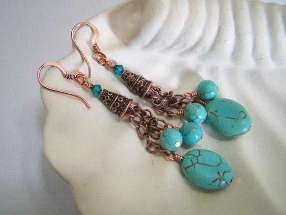 Handmade Jewelry Earrings Beaded Turquoise Copper Gemstone Crystal Chain Long Lightweight Cones Southwest...Copper Creek