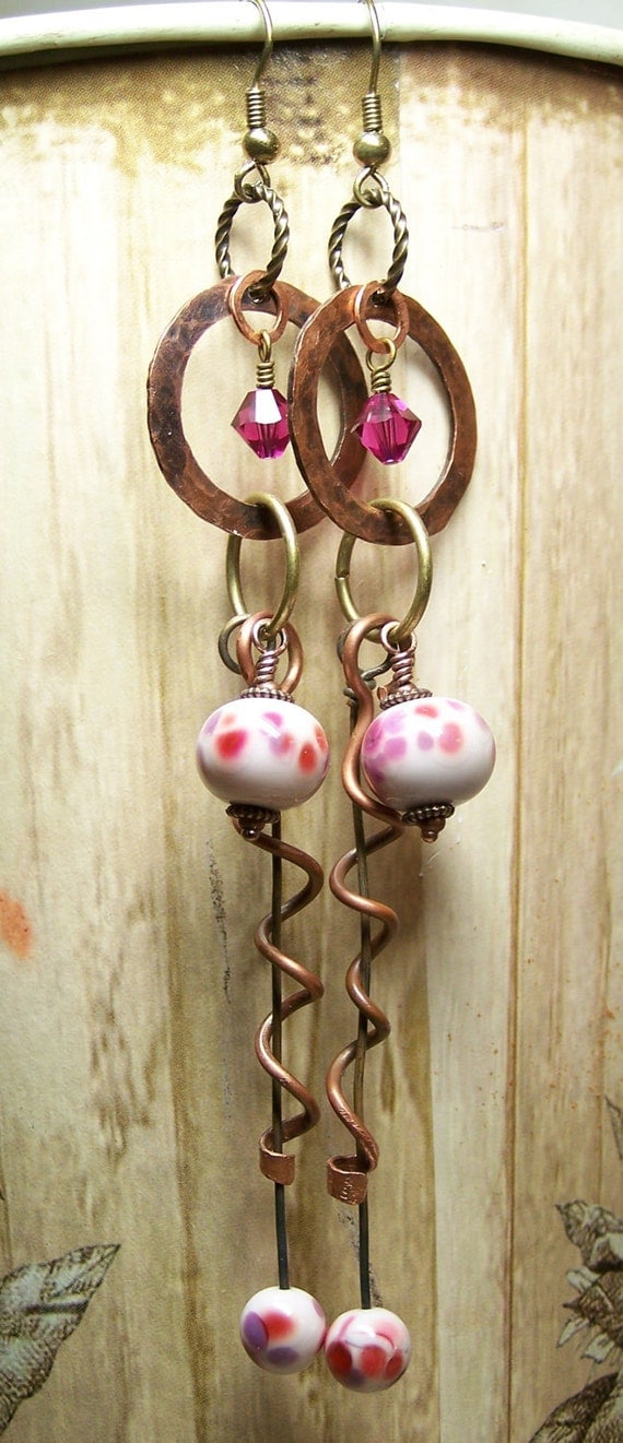 Rosewood... Handmade Earrings Jewelry Lampwork Glass Crystal Hand Forged Mixed Metals Antique Copper Brass Lightweight Long Pink Fuchsia