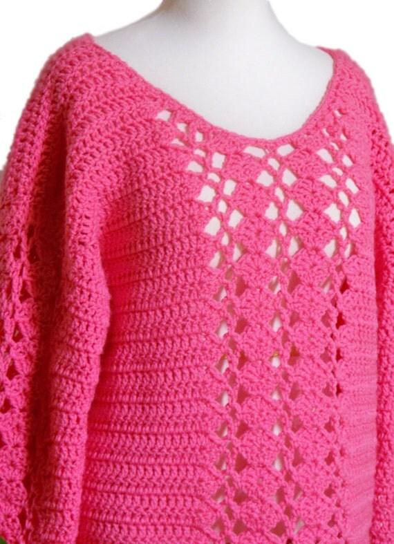 Pink Rose Sweater, Women Pullover Crochet Sweater, Plus Size