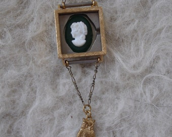 Vintage Necklace with Cameo and Owl Watch Face Parts