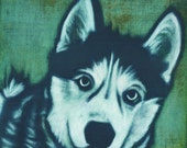 Custom Pet Portrait - Husky - Aspen - Square