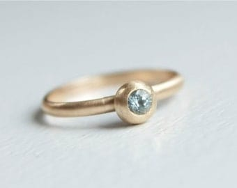 Size 5 Aquamarine Stacking Ring in Recycled 14k Gold