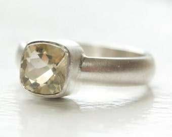 Size 6 Lemon Quartz Cushion Ring in Recycled Sterling Silver