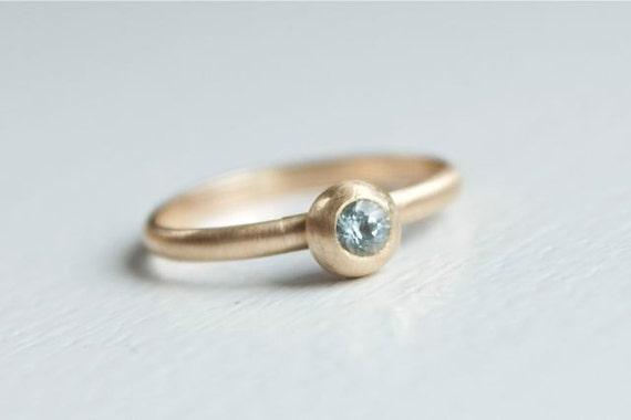 READY to SHIP - Aquamarine Stacking Ring  - Gold and Aquamarine Ring - Dainty Aquamarine Ring - March Birthstone Ring - Ready To Ship Ring