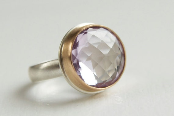 Pink Amethyst Checkerboard Ring in Recycled 14k Gold and Sterling