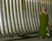 Olive Green Linen Halter Maxi Dress~Sleeveless Dress~Summer Dress~Loose Fitting Maxi~Bohemian Maxi Dress~Oversized Maxi Dress~Plus Size~