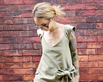 Green Cap Sleeve Bow Dress~A Line Dress~V Neck Dress~Party Dress~Dancing Dress~Plus Size Dress~Dress with Pockets~Day Dress~Maternity Dress~