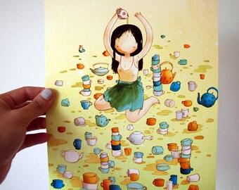 8x10 Print - Tea Girl - Watercolor Drawing