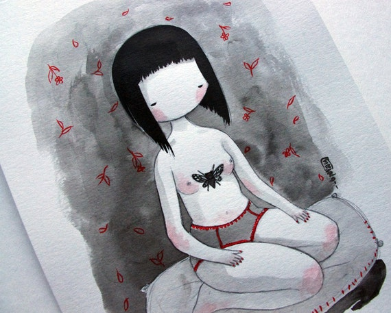 Original drawing - Girl with the Cicada Tattoo - small pencil and ink drawing gray, black and red