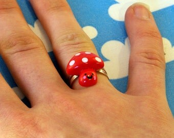 Kawaii Toadstool Ring Adjustable