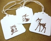 Baby Owl Bunny and Deer Woodland Animals Gift Tags Set of 9 QueenBeeInspirations