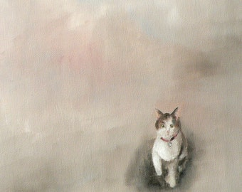 curious cat: giclee art print of a painting
