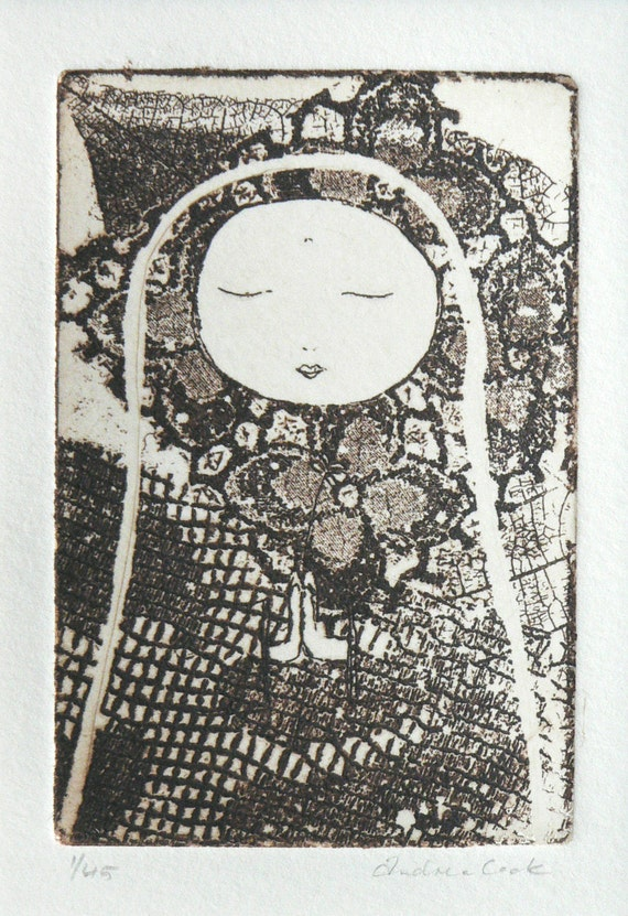 original etching - in meditation and prayer