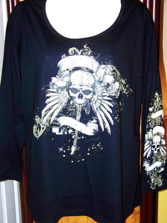 Plus Size 3X Black Crew Long Sleeve Skull Guitar And Wings
