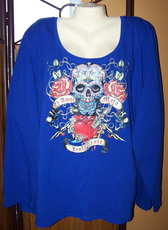 Women's plus size 4X t-shrit, Blue, Sugar Skull Heart and Roses.
