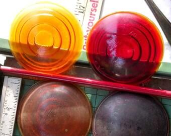 2 Amber Glass Lenses, 3in, yellow scoreboard lens, tailight, robot eye vintage destash (2)